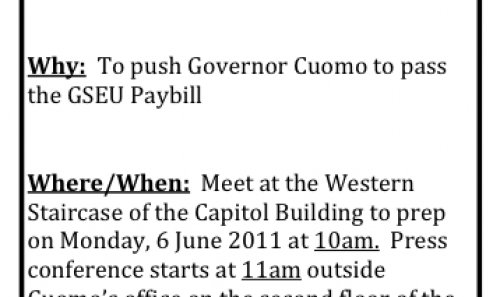 June 6th Press conference in Albany for the GSEU paybill